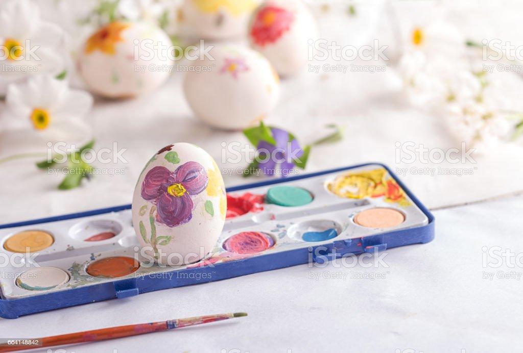 Homemade colored easter eggs stock photo