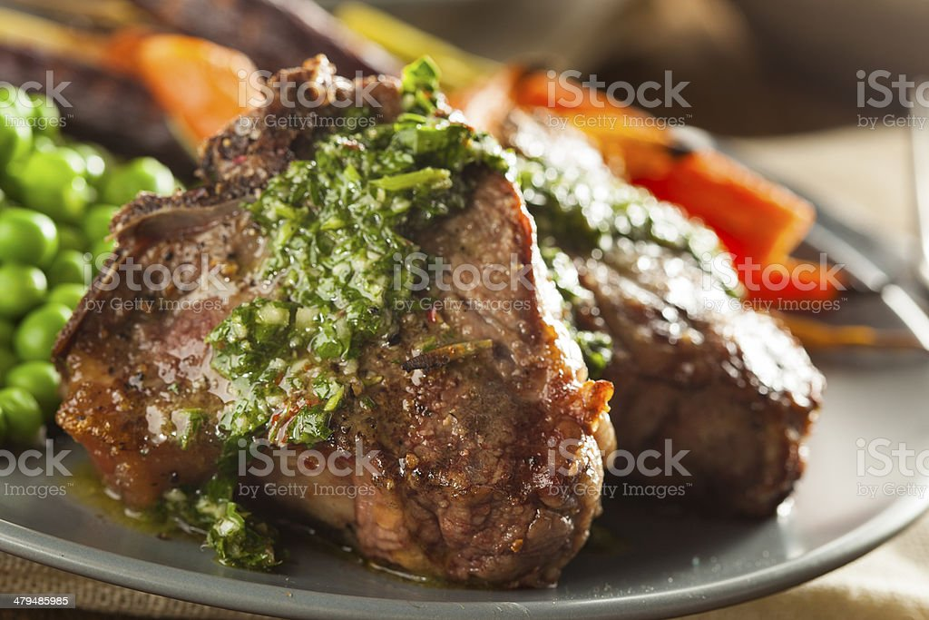 Homemade Cooked Lamb Chops stock photo