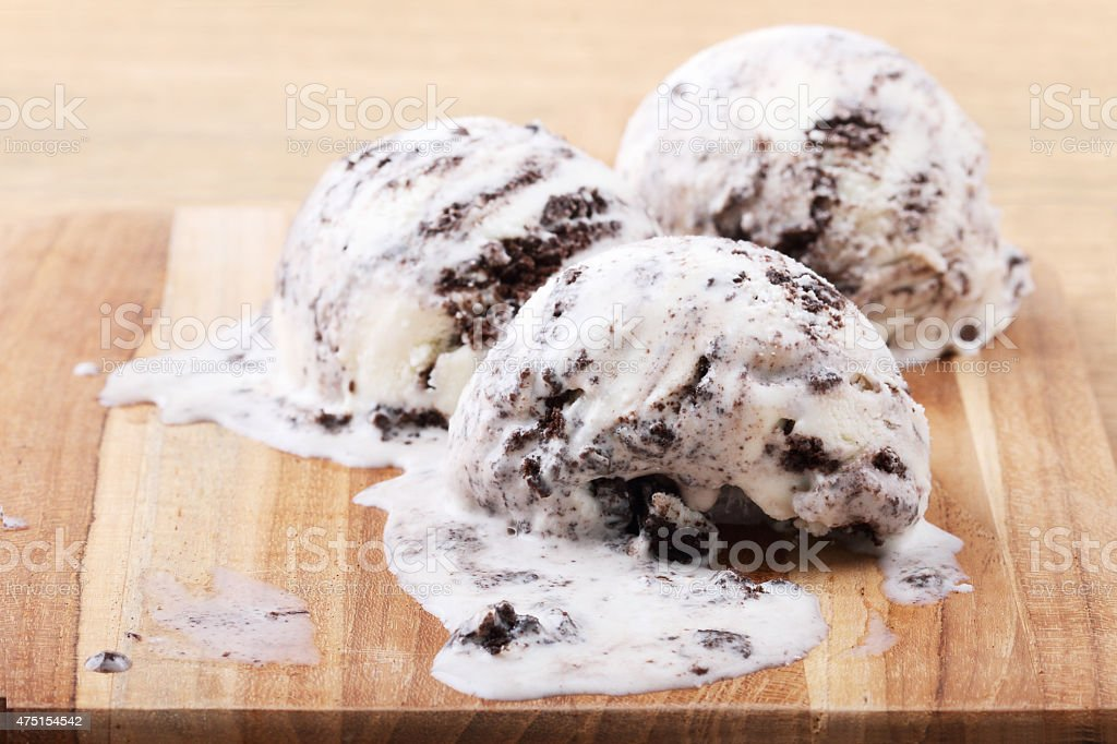 homemade cookie and cream ice cream scoop stock photo
