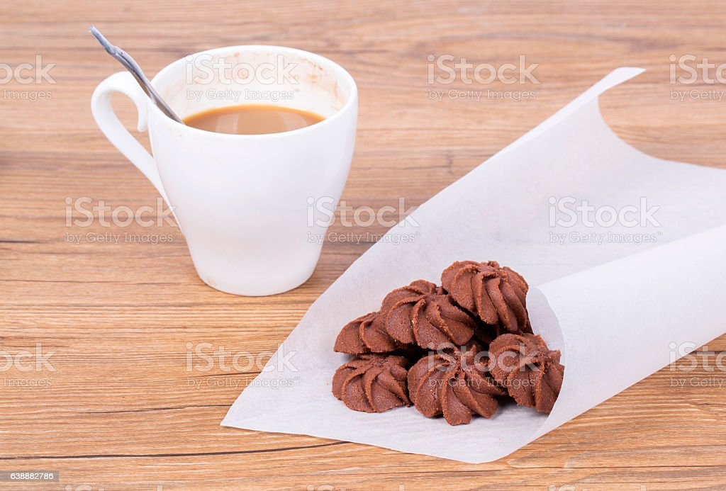 homemade cookies and coffee cup stock photo