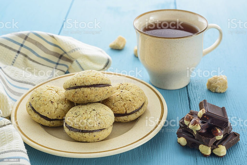 Homemade cookies, chocolate and tea royalty-free stock photo