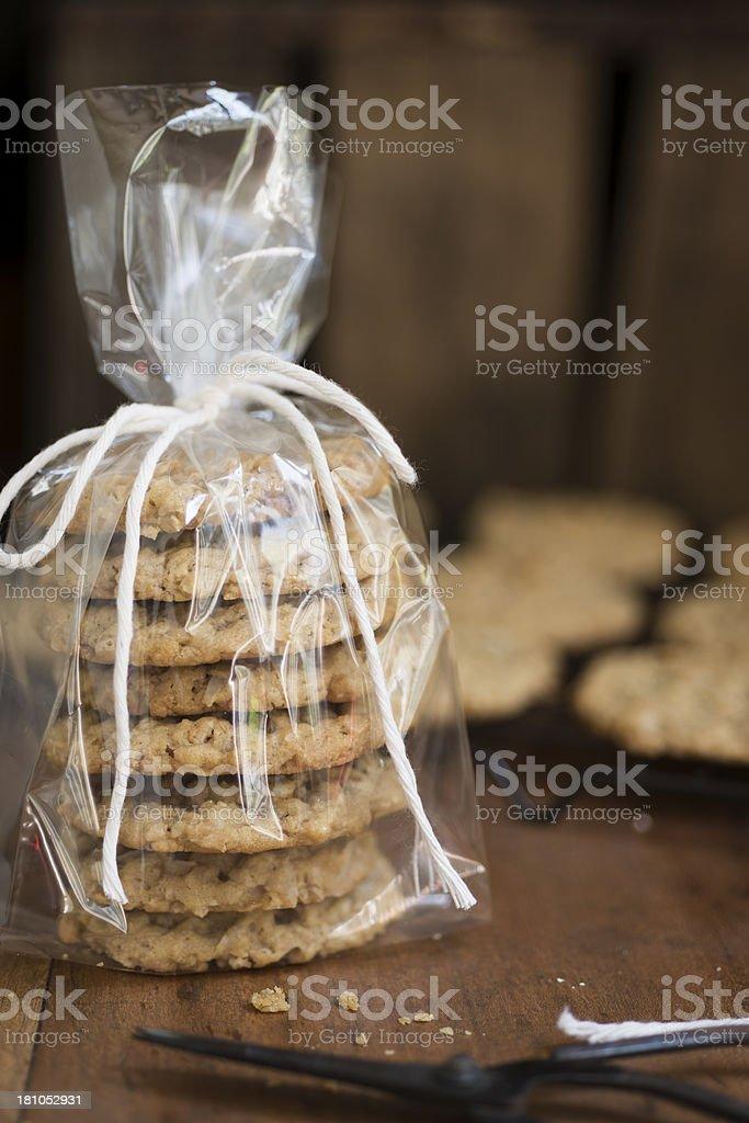 Homemade Cookies in a Cello Bag stock photo