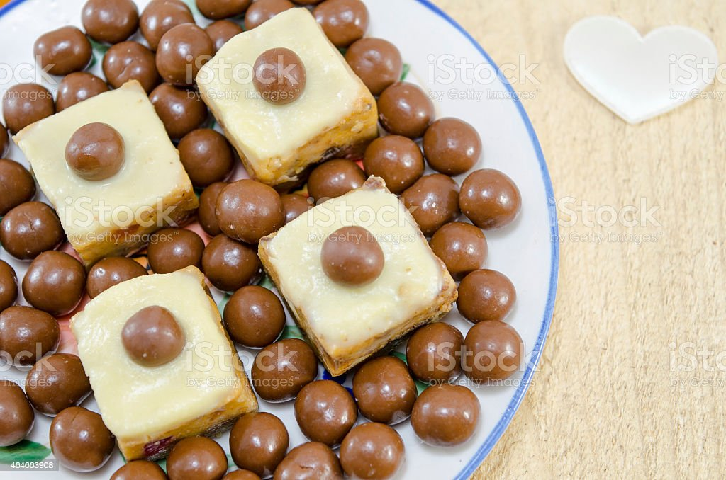 Homemade cookies with a chocolate ball on top royalty-free stock photo