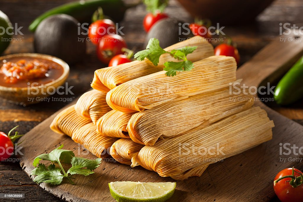 Homemade Corn and Chicken Tamales stock photo