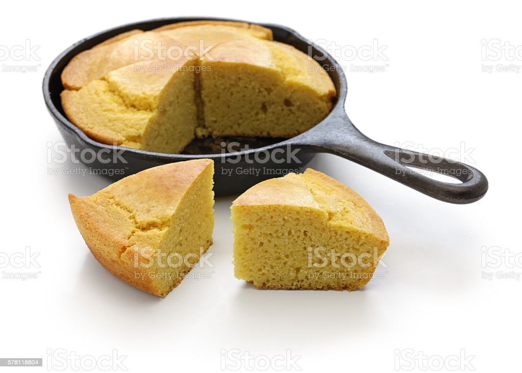 homemade cornbread in skillet, southern cooking stock photo