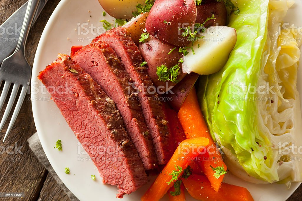 Homemade Corned Beef and Cabbage stock photo