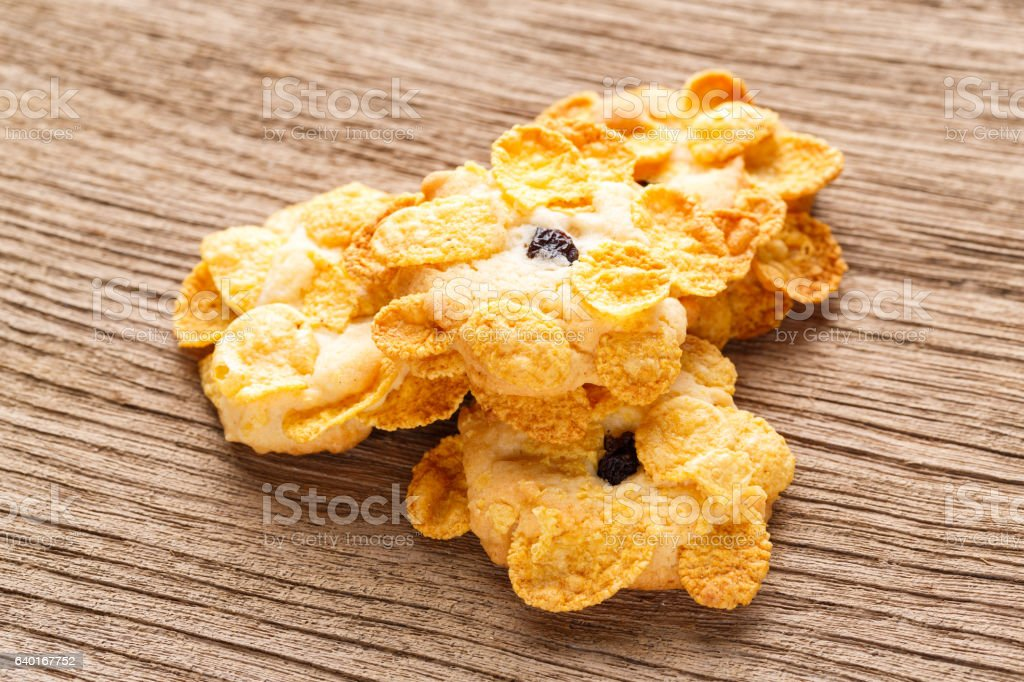 Homemade cornflakes cookies stock photo