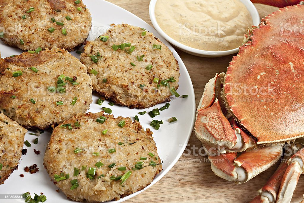 Homemade Crab Cakes With Remoulade royalty-free stock photo