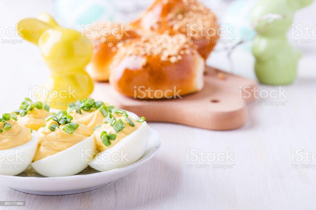 Homemade creamy deviled eggs stock photo