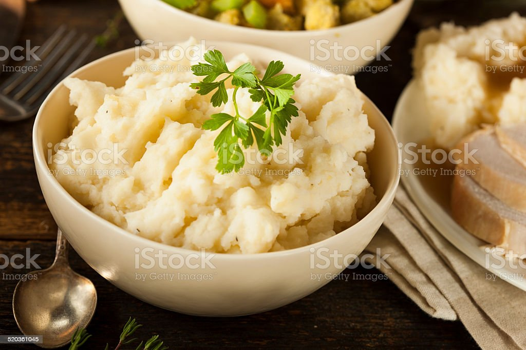 Homemade Creamy Mashed Potatoes stock photo