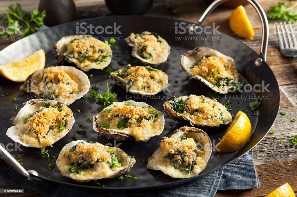 Homemade Creamy Oysters Rockefeller stock photo