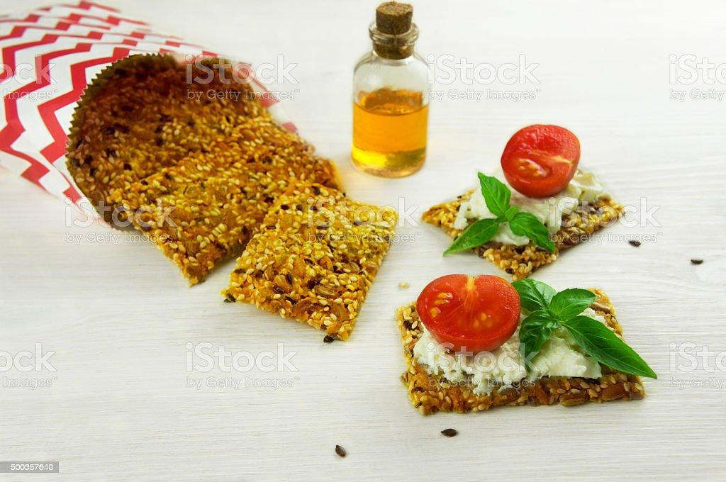 Homemade crisp bread stock photo