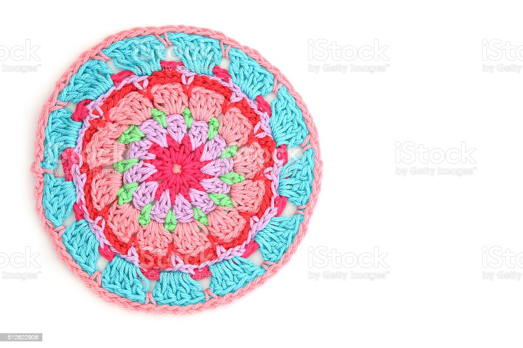 Homemade Crochet Colorful Mandala Isolated On White stock photo