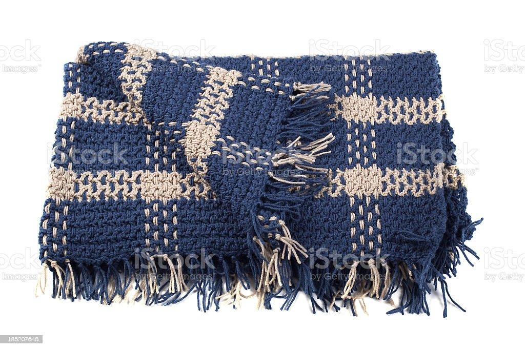 Homemade Crocheted Yarn Afghan Blanket Isolated on White Background stock photo