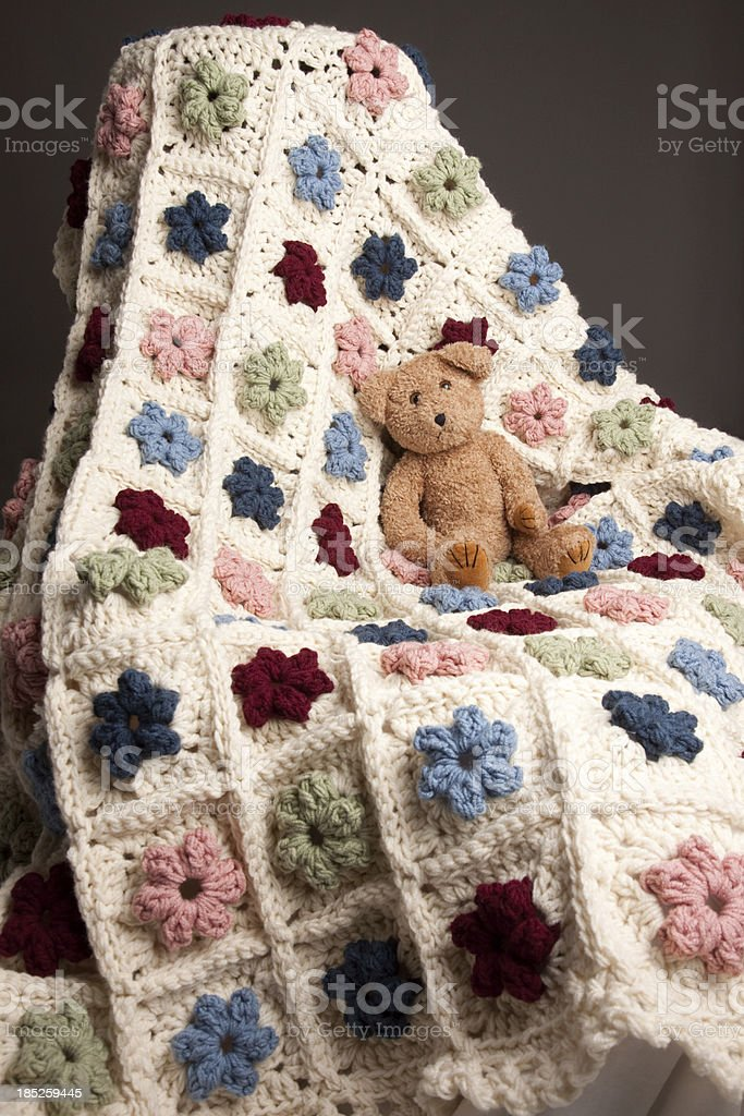 Homemade Crocheted Yarn Afghan Blanket royalty-free stock photo