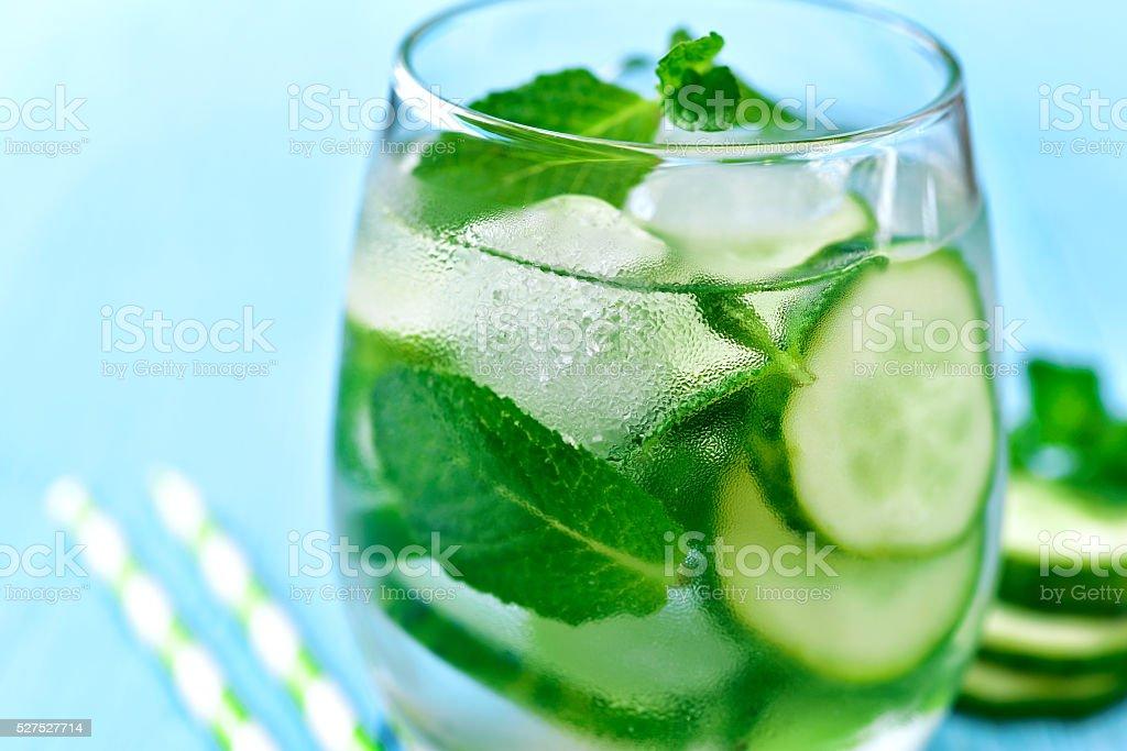 Homemade cucumber and mint lemonade. stock photo