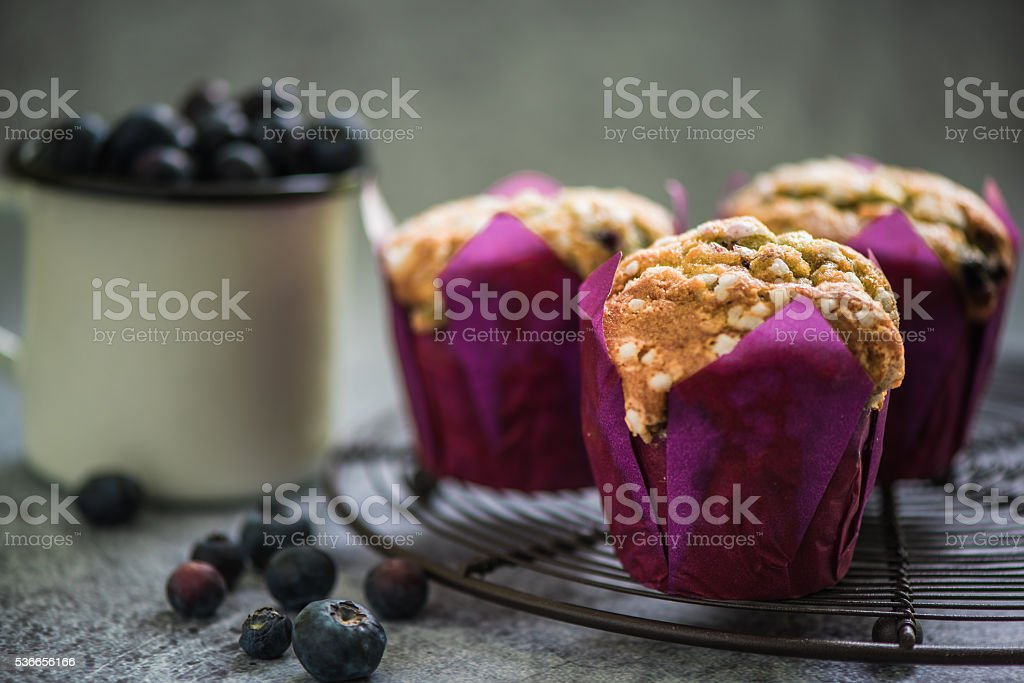 homemade cupcakes with seasonal fruits stock photo