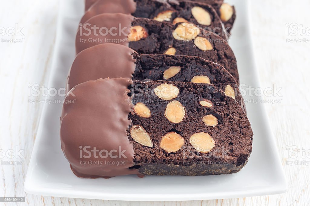 Homemade dark chocolate biscotti cookies with almonds, horizontal stock photo