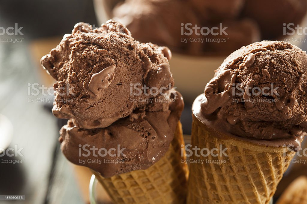 Homemade Dark Chocolate Ice Cream Cone stock photo