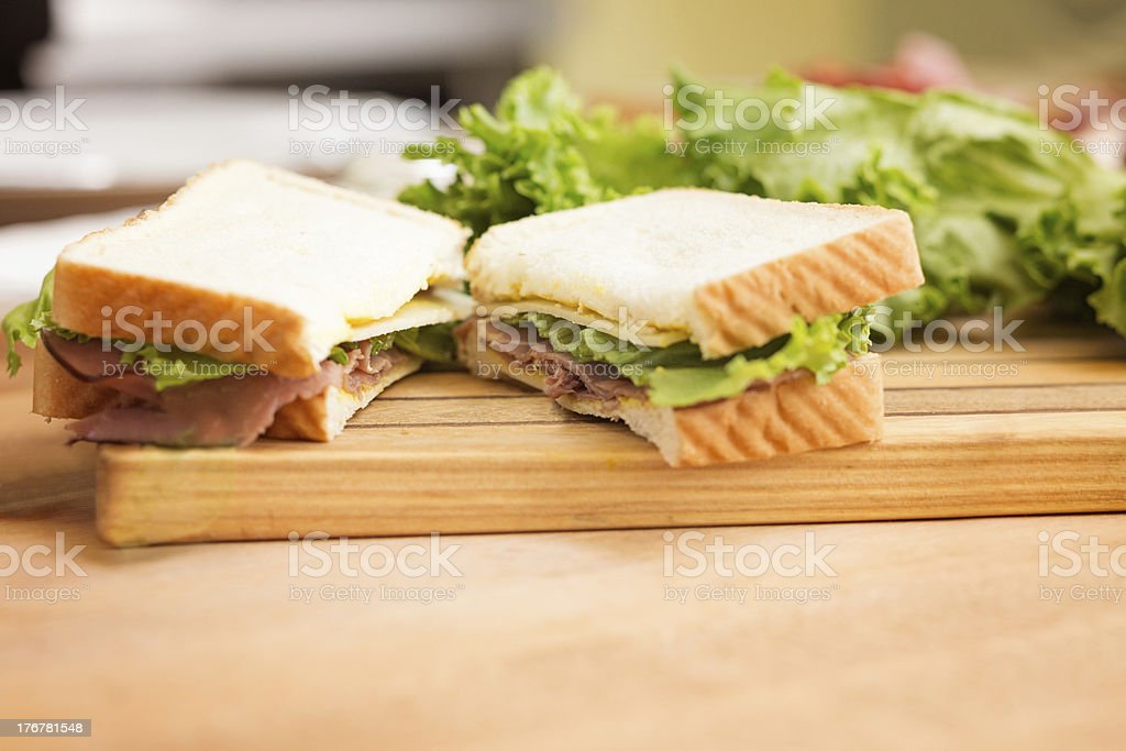 Homemade deli sandwich on American bread royalty-free stock photo