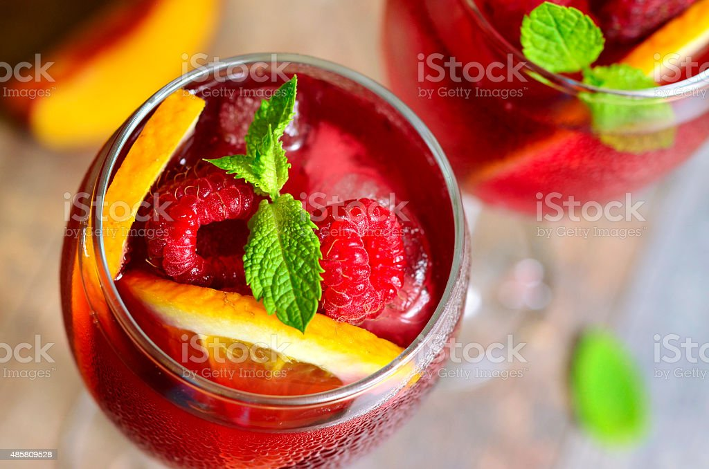 Homemade delicious sangria. stock photo