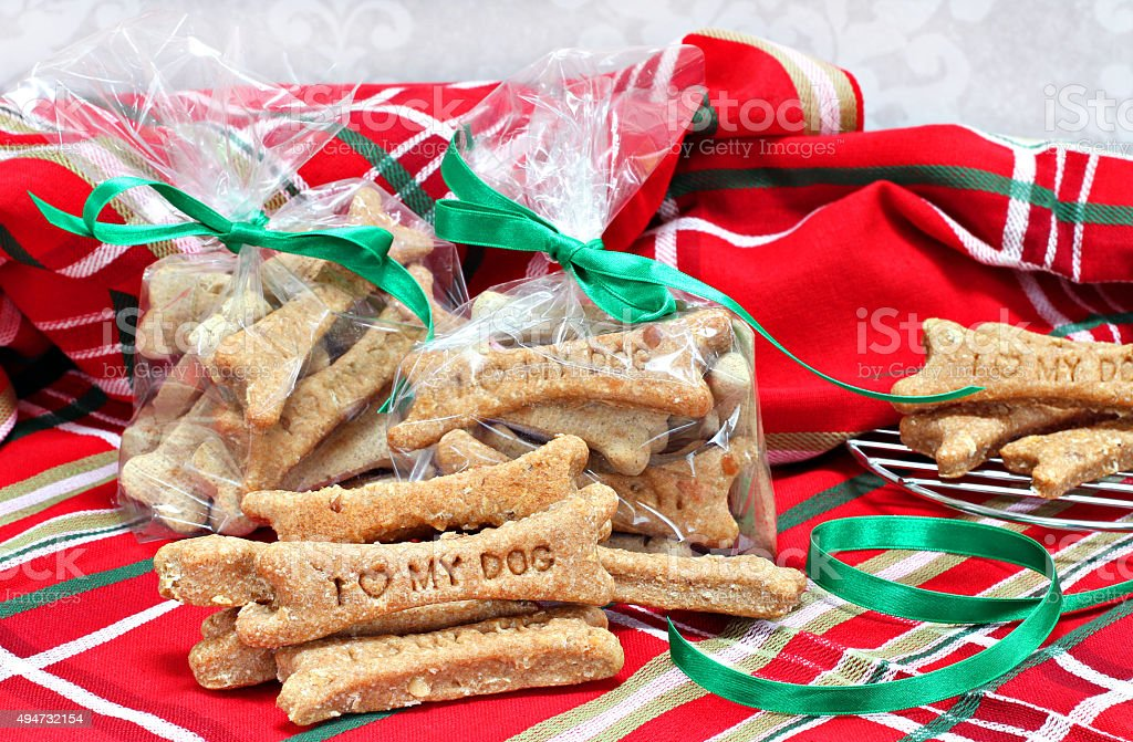 Homemade dog biscuits stamped with I Love My Dog stock photo