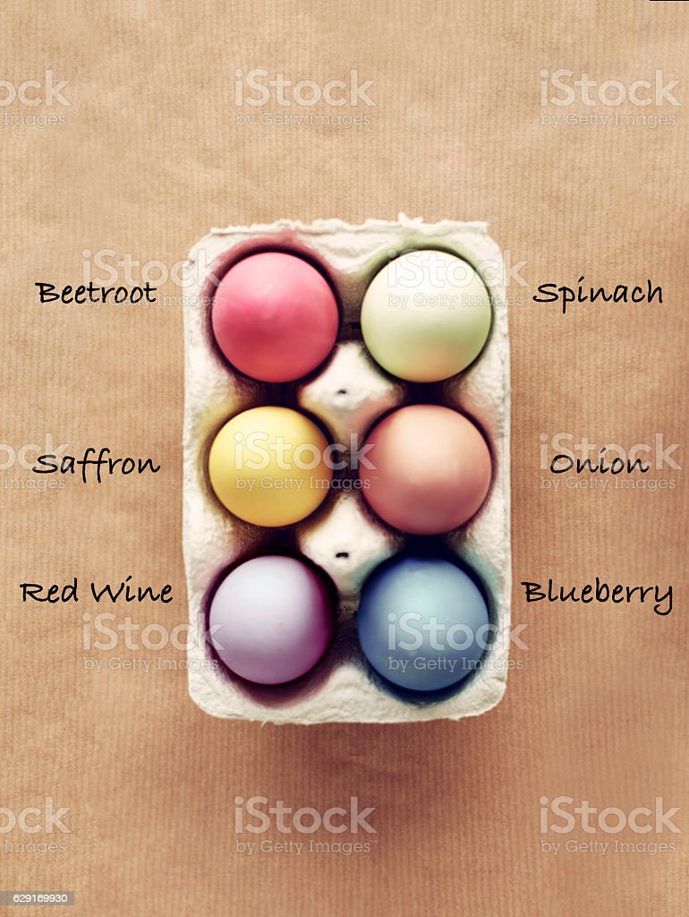Homemade dyed Easter eggs with six organic colors stock photo