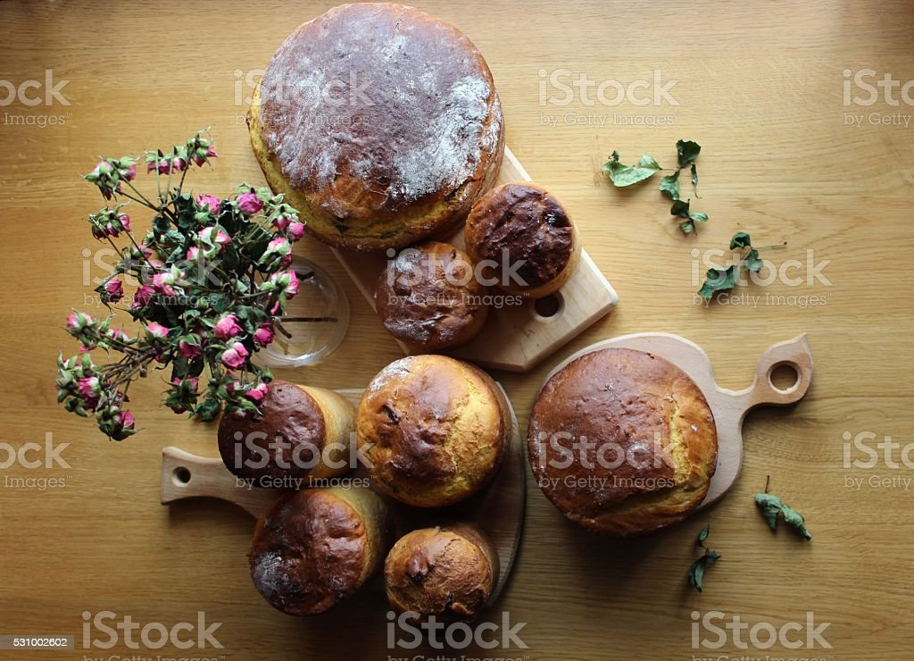 Homemade Easter bread loafs set background stock photo