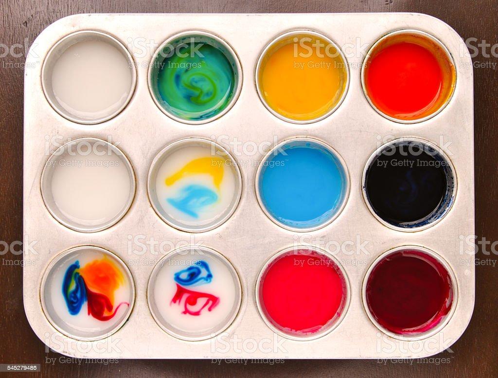 Homemade edible paint made from cornstarch foto de stock libre de derechos