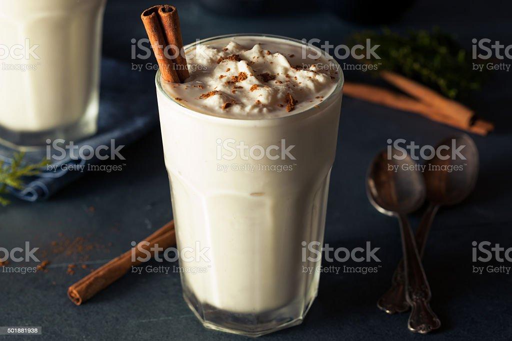 Homemade Eggnog Ice Cream Milkshake stock photo