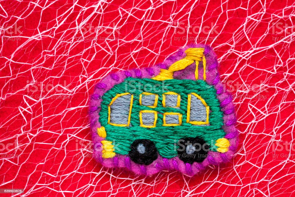 homemade embroidered trolleybus stock photo