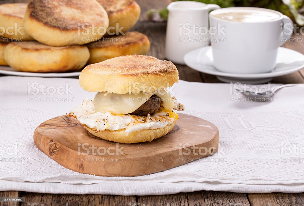 Homemade English Muffin Breakfast Sandwich stock photo