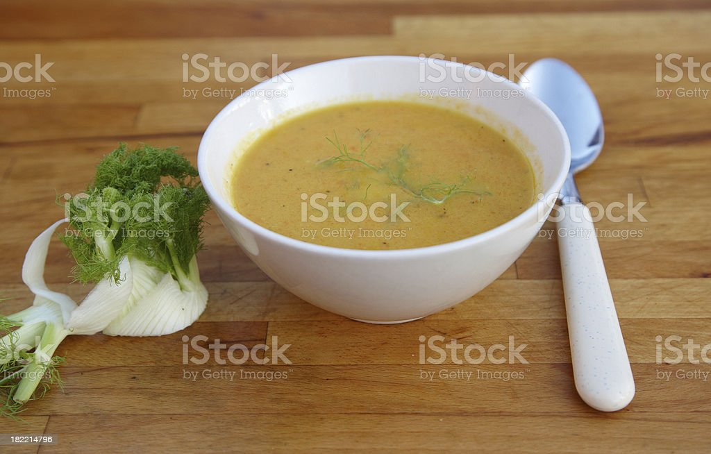 Homemade fennel and carrot soup stock photo