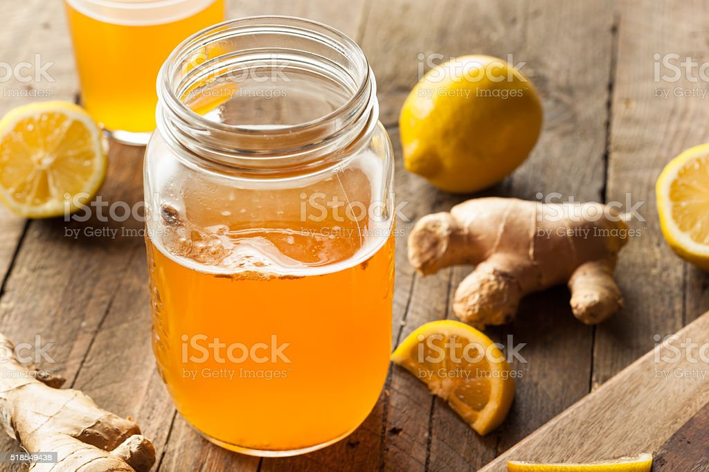 Homemade Fermented Raw Kombucha Tea stock photo