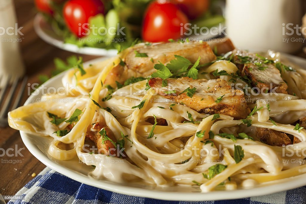 Homemade Fettucini Aflredo Pasta stock photo