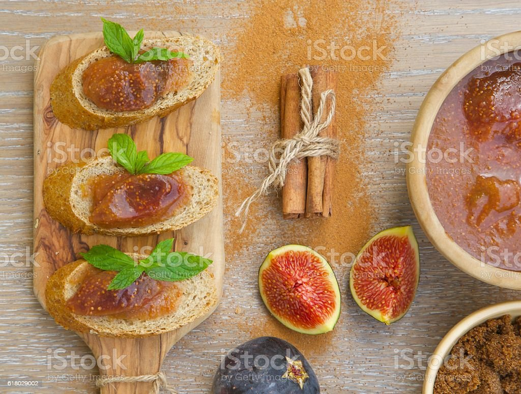Homemade fig marmalade with cinnamon stock photo