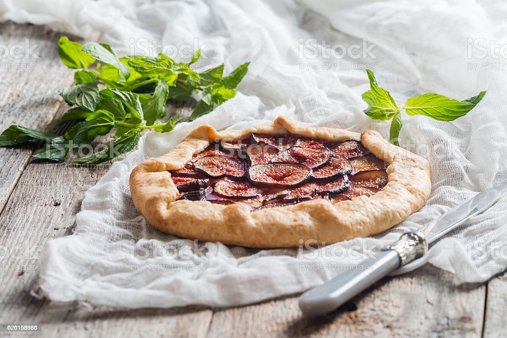 Homemade figs galette stock photo