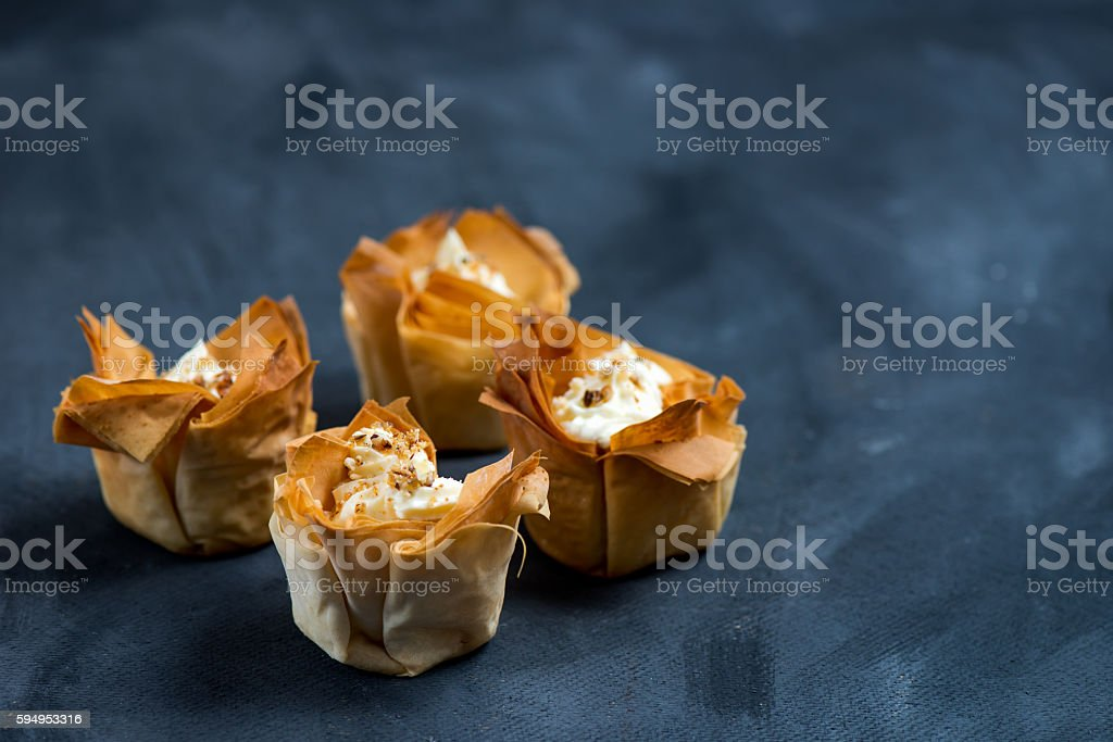 Homemade Filo Pastry Baskets with Mascarpone Cream stock photo