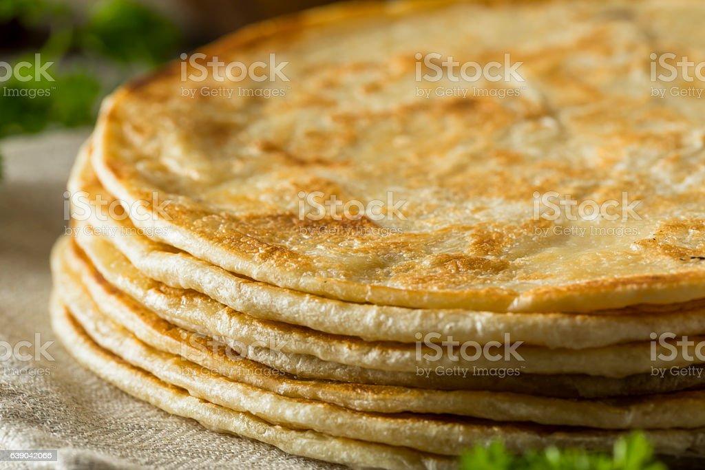 Homemade Flour Indian Paratha Bread stock photo