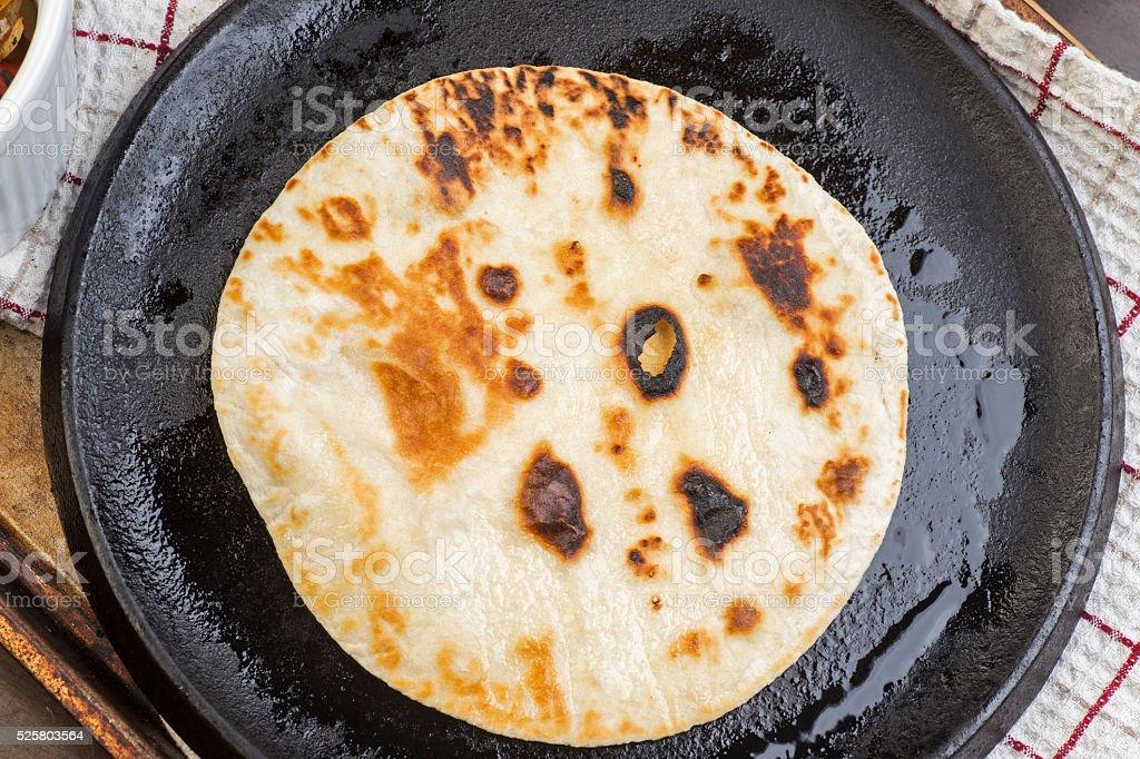 Homemade flour tortilla stock photo