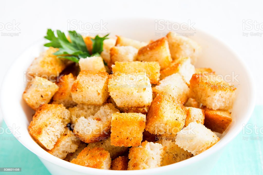 Homemade french croutons stock photo