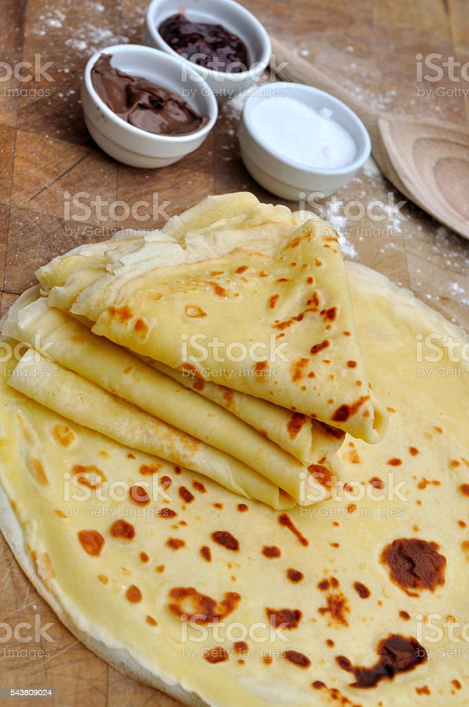 homemade french pancakes stock photo