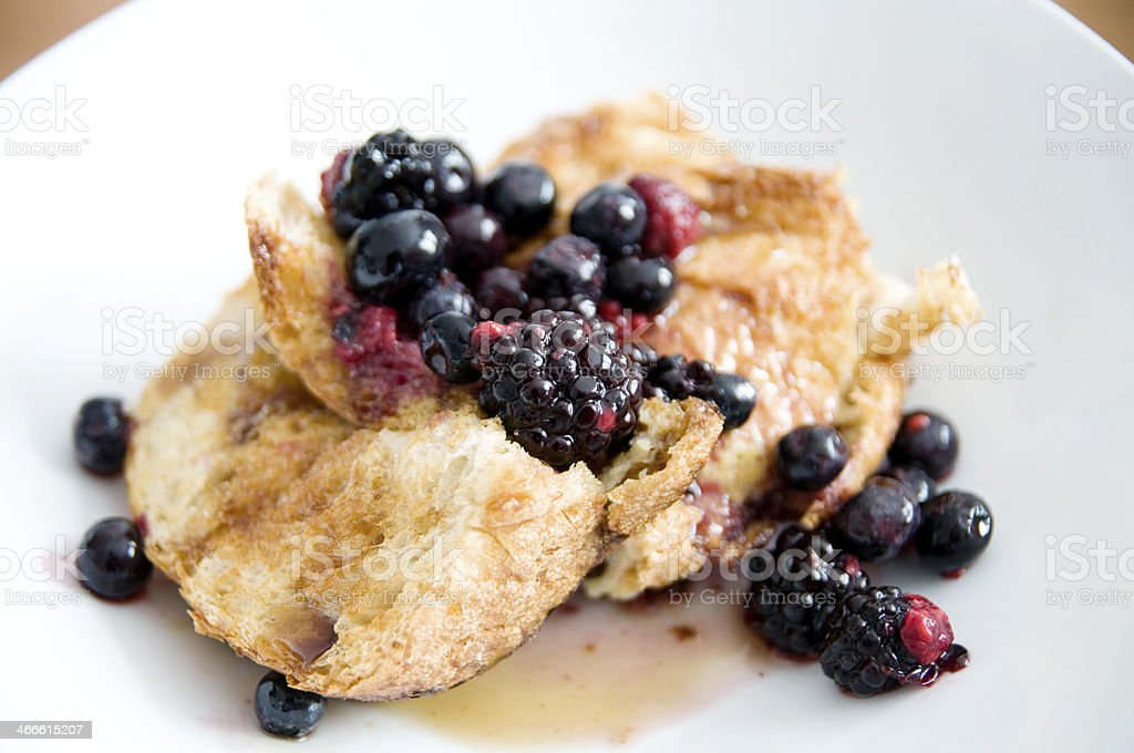 Homemade french toast with blackberries stock photo
