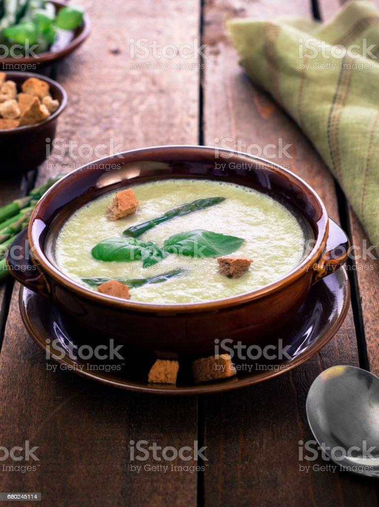Homemade Fresh Asparagus Soup stock photo