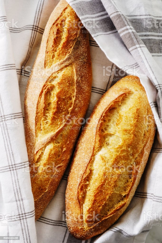 Homemade fresh bread. Top view stock photo