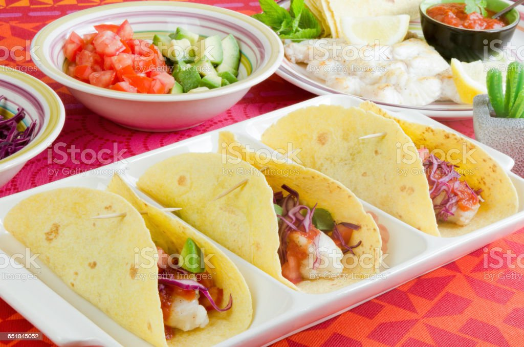Homemade fresh fish tacos stock photo