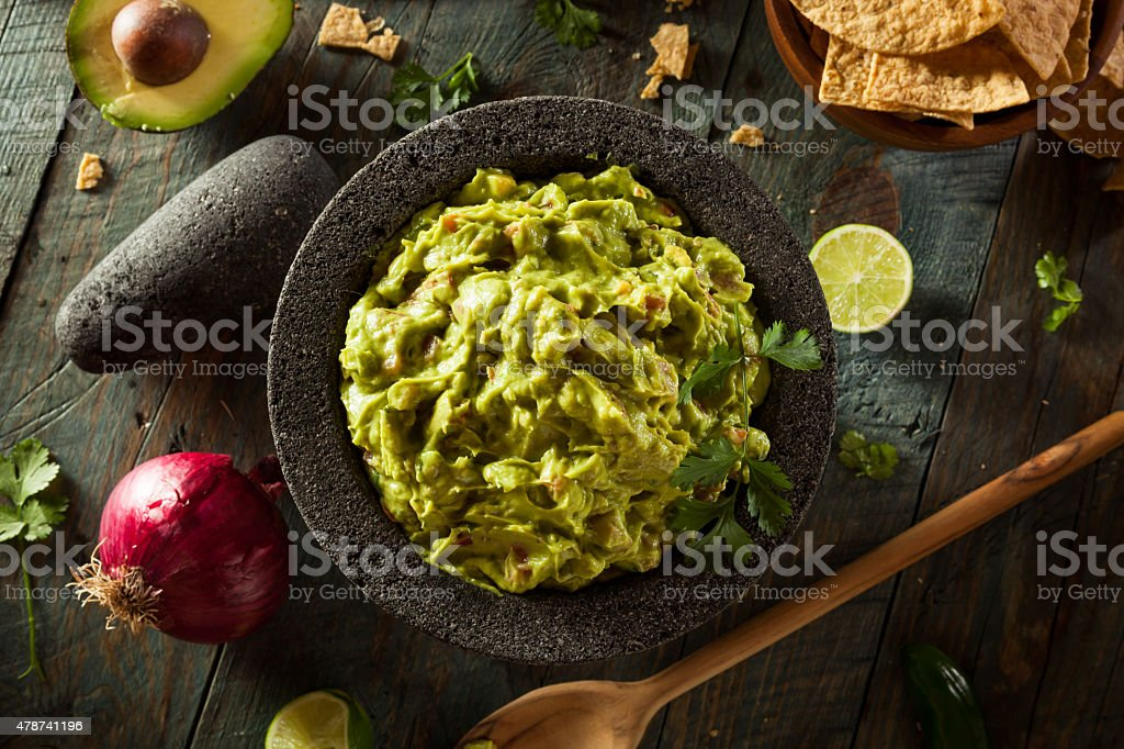 Homemade Fresh Guacamole and Chips stock photo