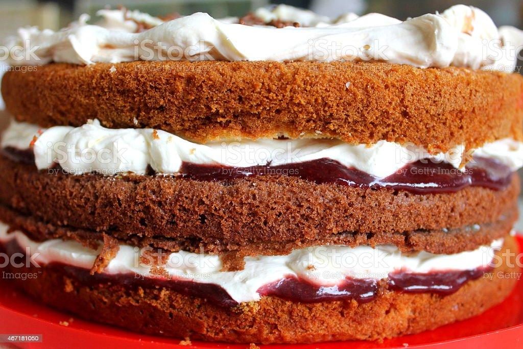 Homemade Fresh Layered cream sponge cake stock photo