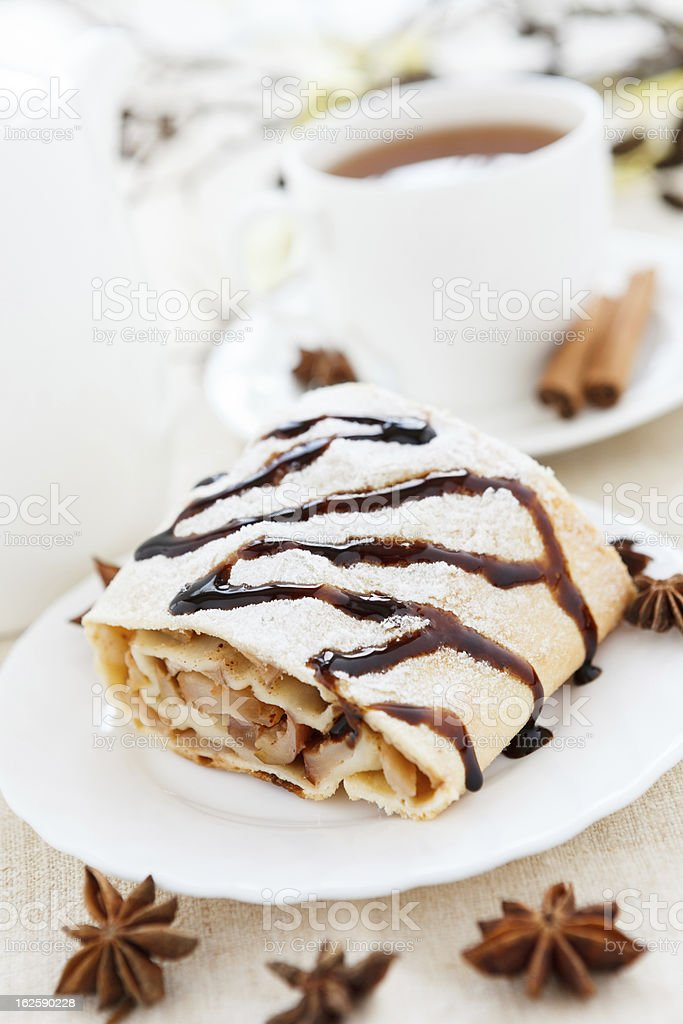 Homemade freshly baked apple pie and tea royalty-free stock photo