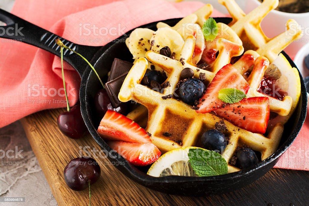 Homemade freshly baked waffles stock photo
